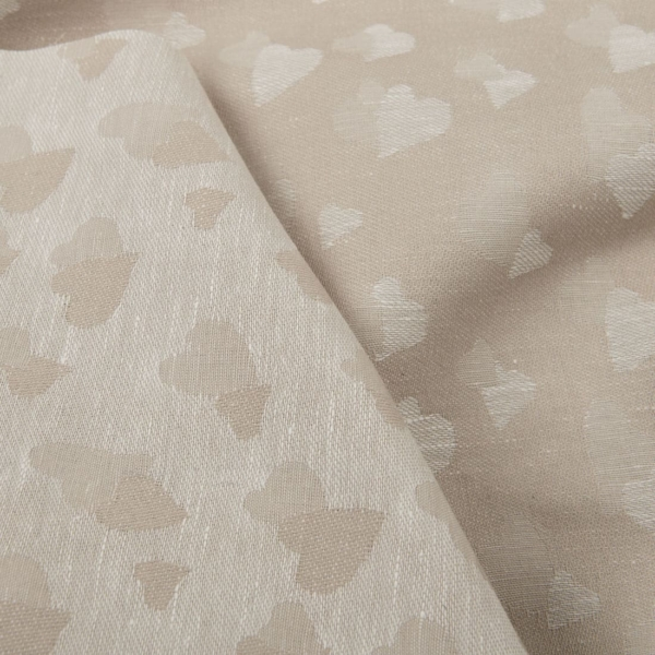 Light brown half-linen fabric with small hearts 1