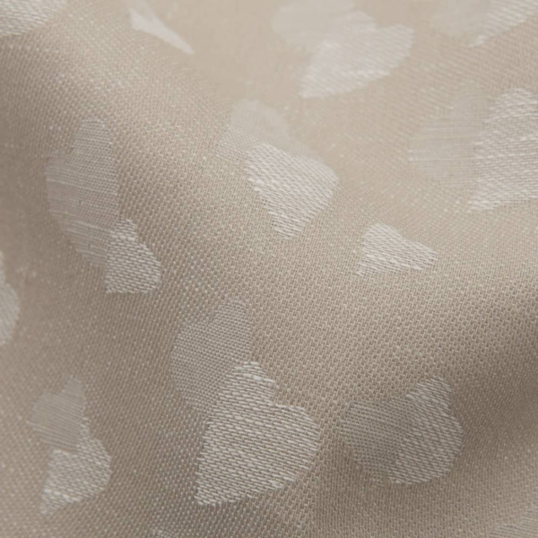 Light brown half-linen fabric with small hearts 2