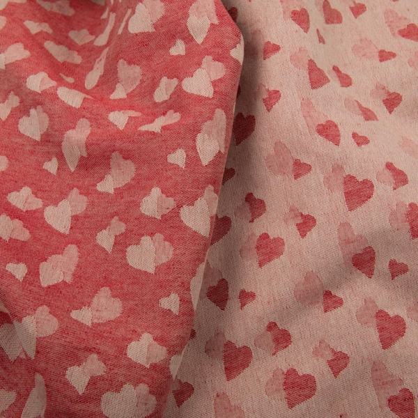 Red half-linen fabric with small hearts 1