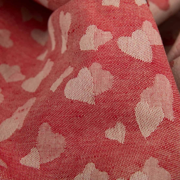 Red half-linen fabric with small hearts 3