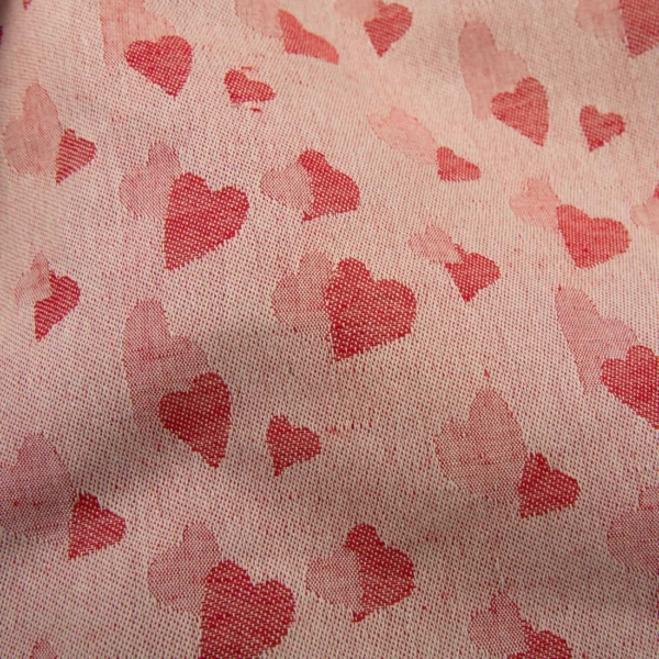 Red half-linen fabric with small hearts 2
