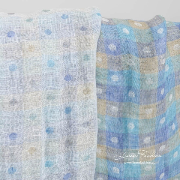 Washed linen double layer fabric with bluish checks and bubbles 1