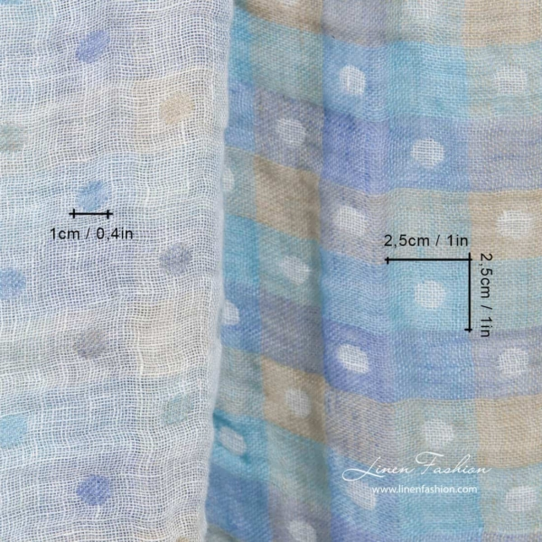 Washed linen double layer fabric with bluish checks and bubbles 4
