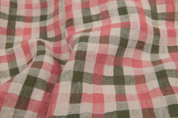 Washed linen fabric in green and rose checks 1