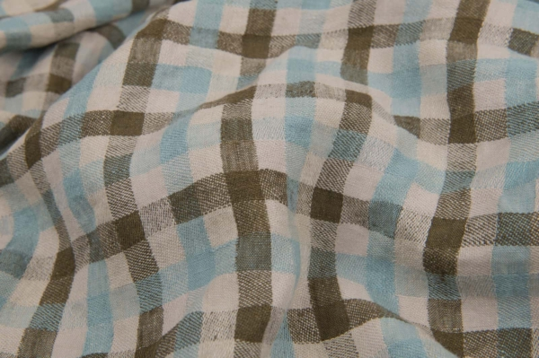 Washed linen fabric in green and sea blue checks 1