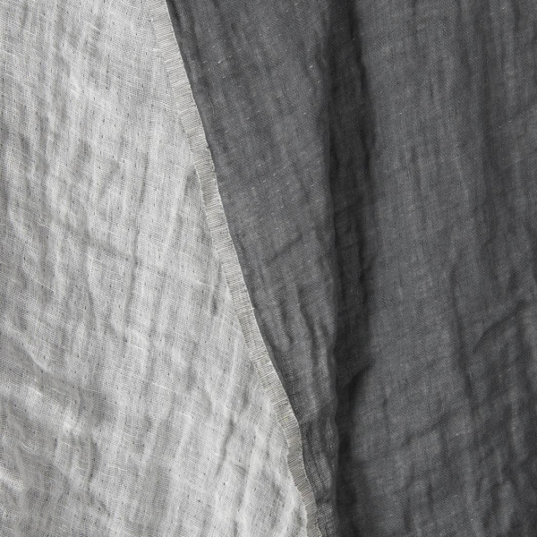 Grey / off-white double-sided linen fabric, washed 1