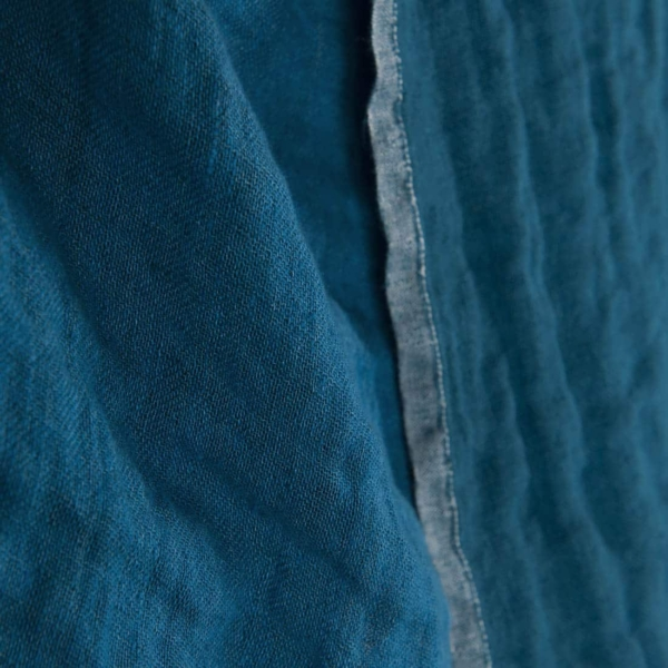 Blue double-sided linen fabric, washed 2