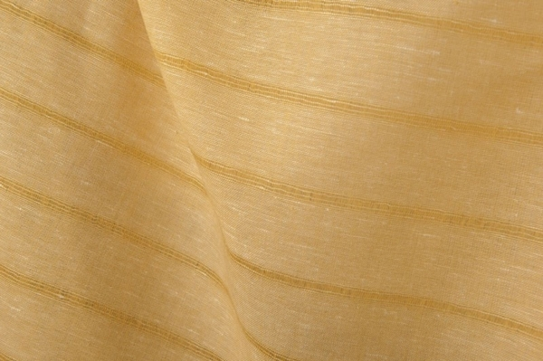 Yellow linen cotton fabric in stripes 1