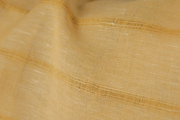 Yellow linen cotton fabric in stripes 2