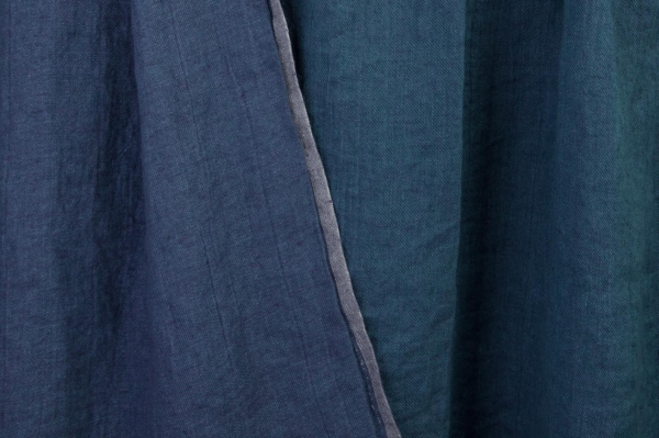 Double-sided blue washed linen fabric 1