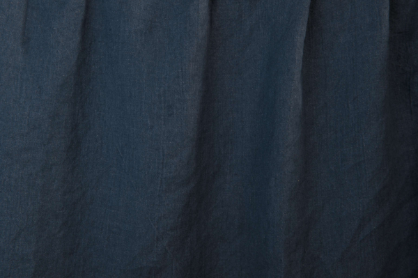 Washed dark blue linen fabric 2