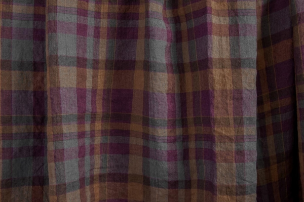Purple plaid washed linen fabric 1