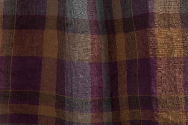 Purple plaid washed linen fabric 2