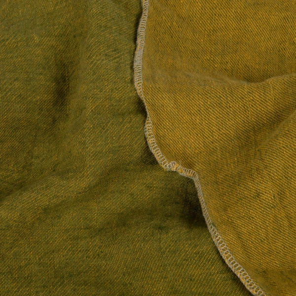 Yellow green double sided linen fabric, washed 1