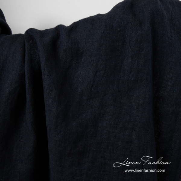 Blue black linen fabric, washed 1