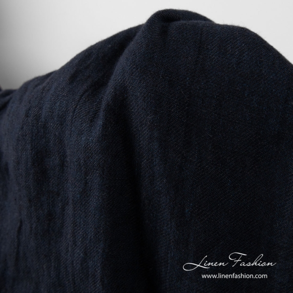 Blue black linen fabric, washed 2