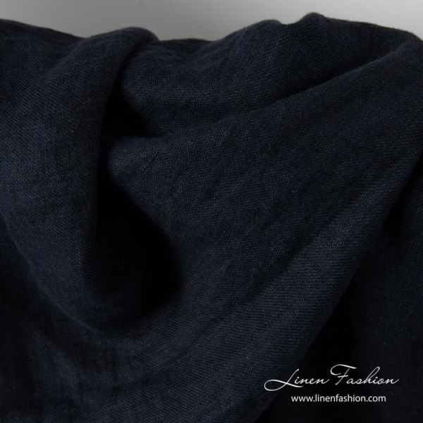 Blue black linen fabric, washed 3