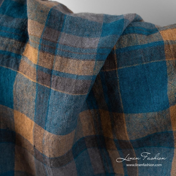 Washed linen fabric with brown and blue checks 2