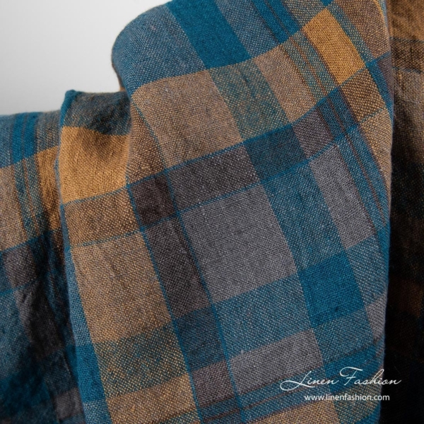 Washed linen fabric with brown and blue checks 3