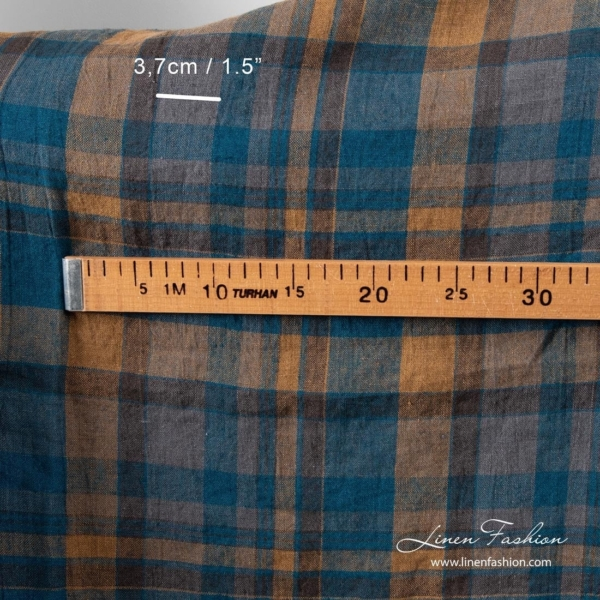 Washed linen fabric with brown and blue checks 4