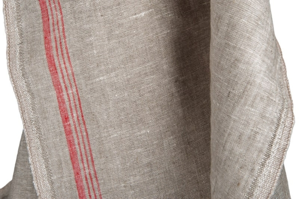 Light grey narrow pure linen fabric with red stripes 1