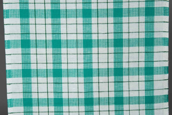 Plaid linen / cotton fabric in green and white 1