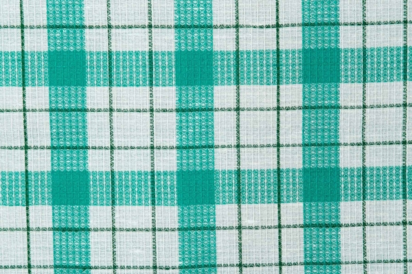Plaid linen / cotton fabric in green and white 2