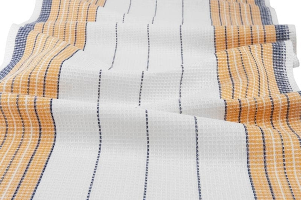White, orange and blue striped linen / cotton fabric 1