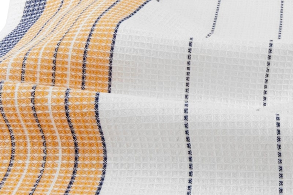 White, orange and blue striped linen / cotton fabric 2