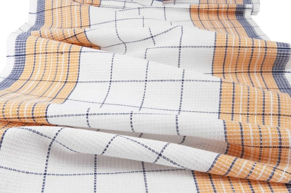 White, orange and blue checked linen / cotton fabric 1