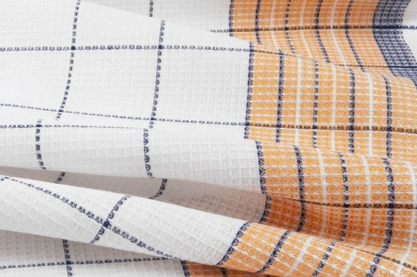 White, orange and blue checked linen / cotton fabric 2