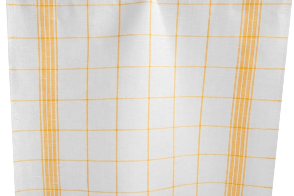 White and yellow checked linen / cotton fabric 1