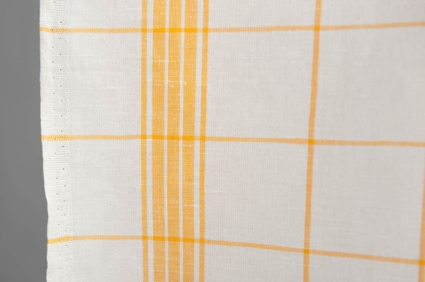 White and yellow checked linen / cotton fabric 2