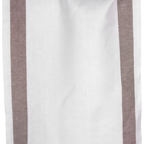Linen cotton optical white fabric with brown stripes 1