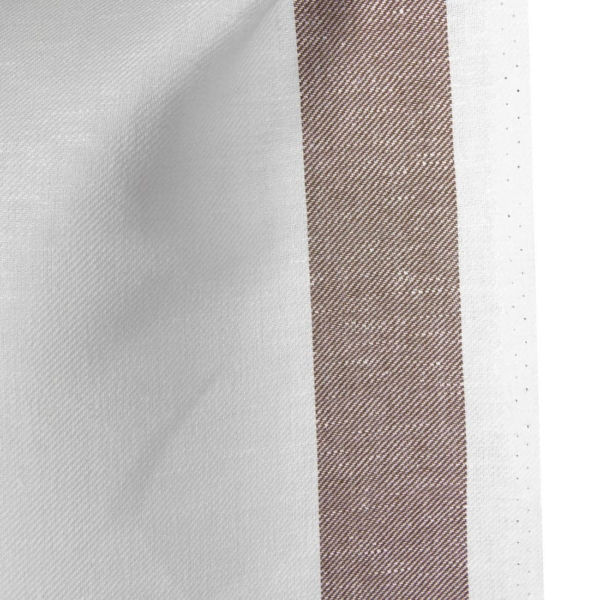 Linen cotton optical white fabric with brown stripes 2