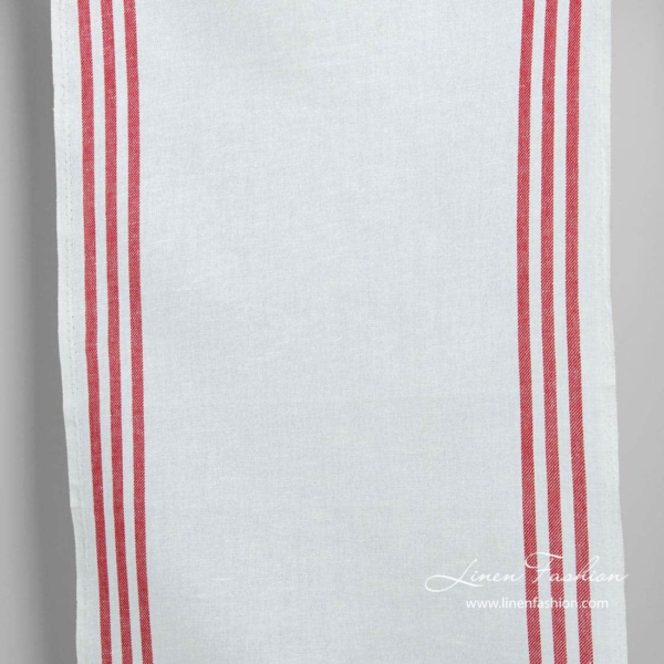 Linen cotton narrow fabric with red stripes 1