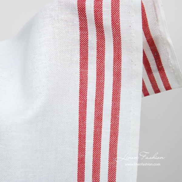 Linen cotton narrow fabric with red stripes 2
