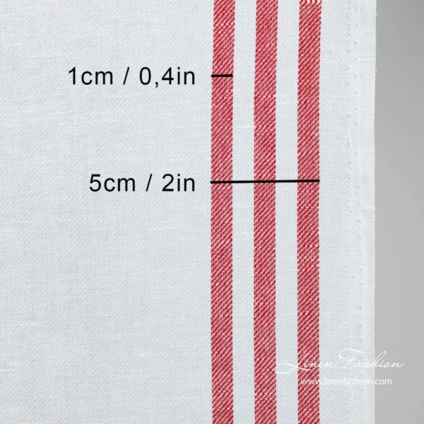 Linen cotton narrow fabric with red stripes 3