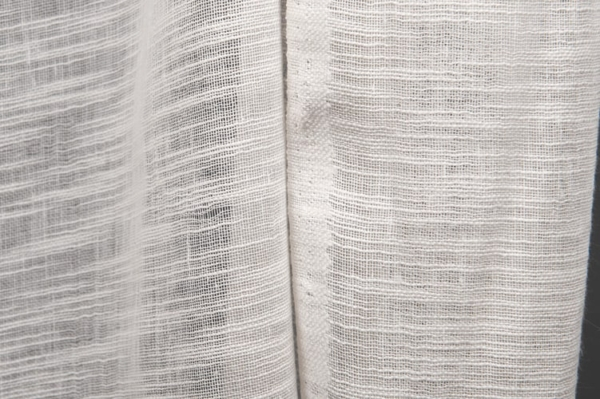 Off-white sheer linen / cotton fabric in stripes 1