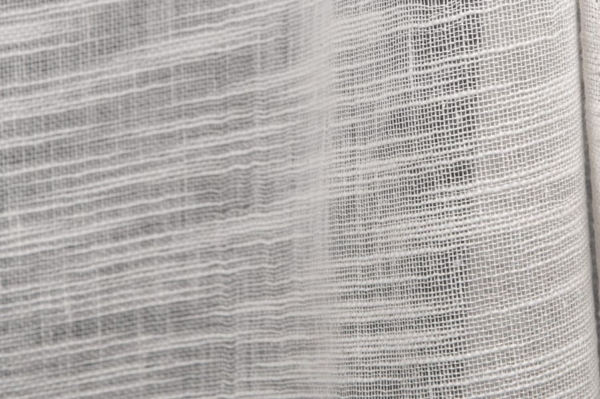Off-white sheer linen / cotton fabric in stripes 2
