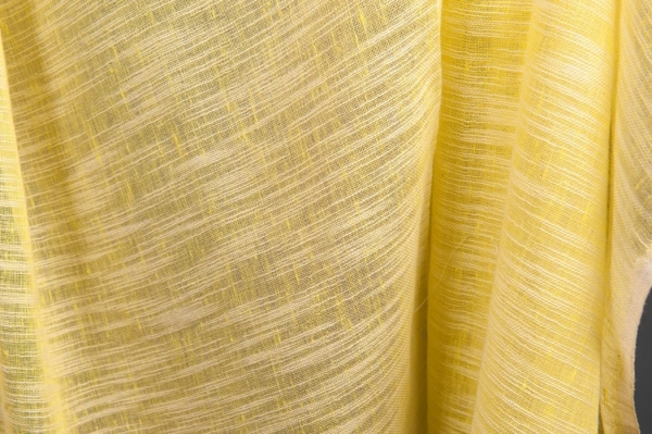 Yellow striped transparent linen / cotton fabric 1