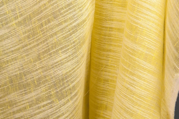Yellow striped transparent linen / cotton fabric 2