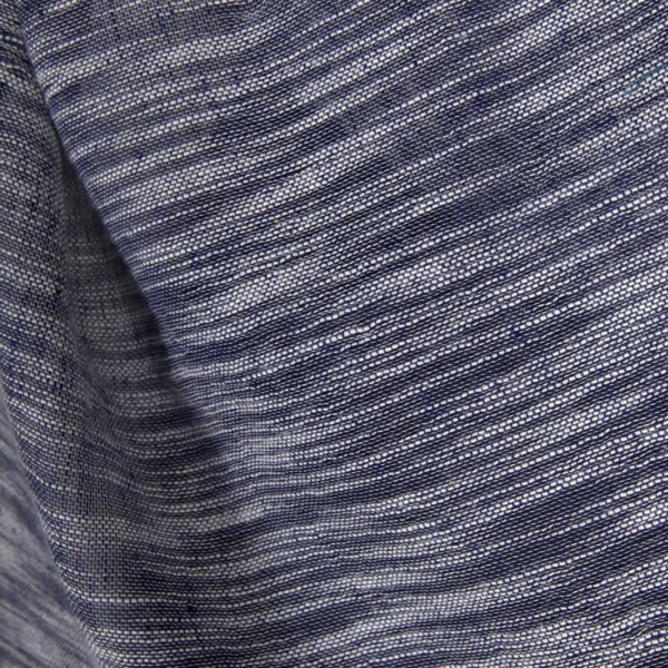Linen cotton blue fabric with white stripes 1