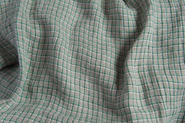 Linen grey fabric with green checks, washed 1