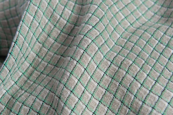 Linen grey fabric with green checks, washed 2