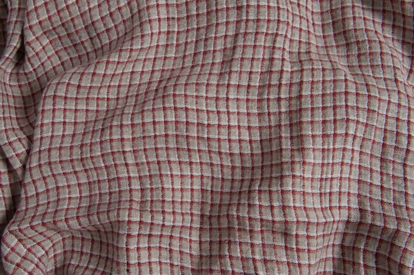 Linen grey fabric with red checks, washed 1
