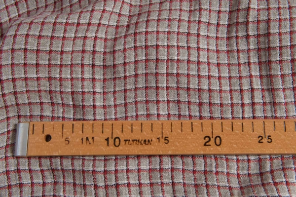 Linen grey fabric with red checks, washed 3