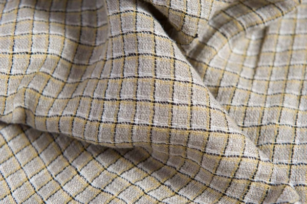 Linen grey fabric with yellow checks, washed 2