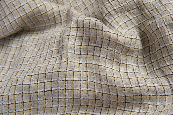 Linen grey fabric with yellow checks, washed 1