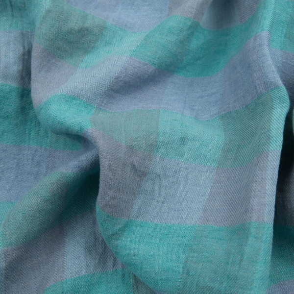 Washed linen fabric in light blue and green checks 1